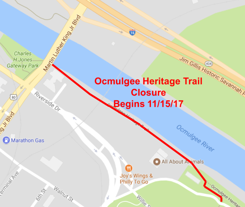 Portion of Ocmulgee Heritage Trail temporarily closing