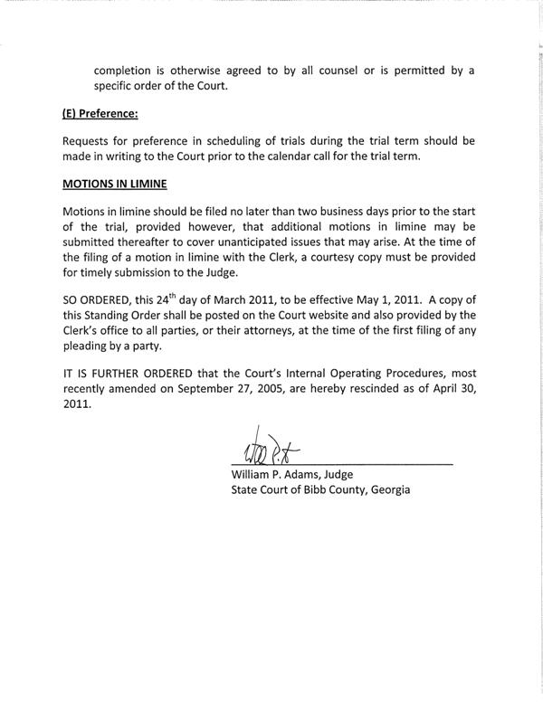 Standing Order Civil Cases