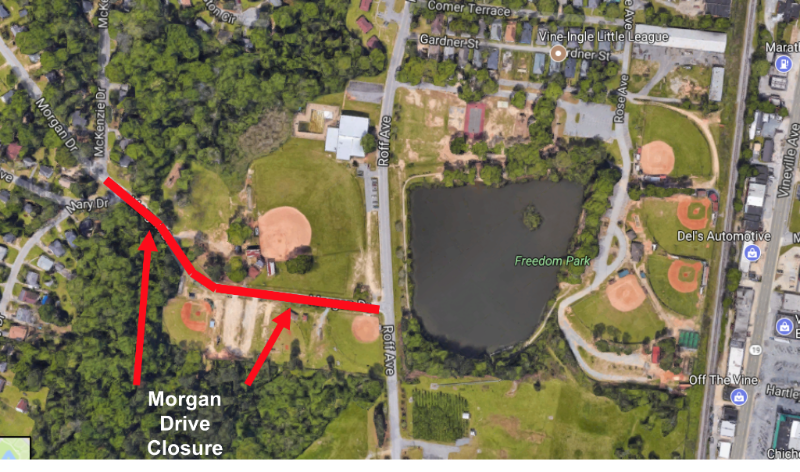 Portion of Morgan Drive closed for Freedom Park improvement project