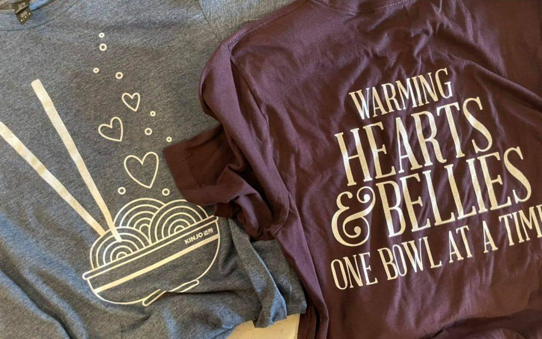 Kinjo sells t-shirts to benefit Brookdale Warming Center